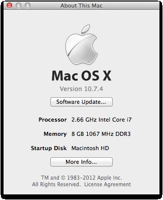 """メモリ増設後の""""About This Mac"""""""
